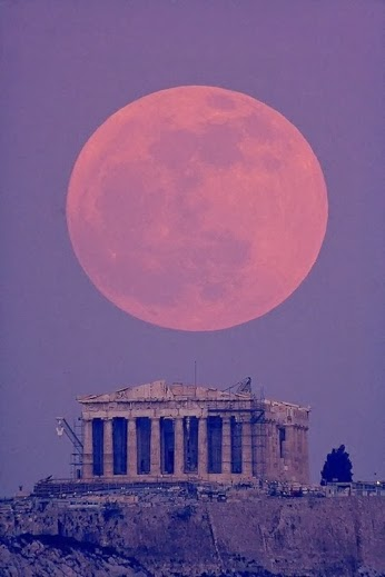 Moon over the Parthenon, Greece
