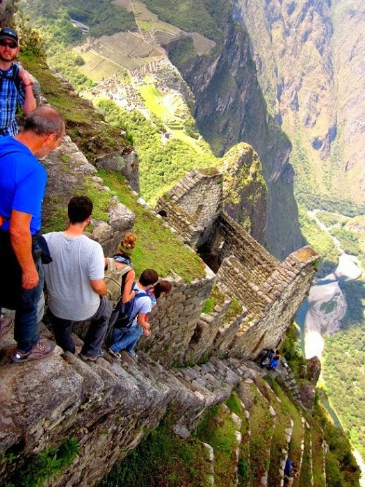 Scary Photo of The Almost Vertical Stairs at Machu Picchu