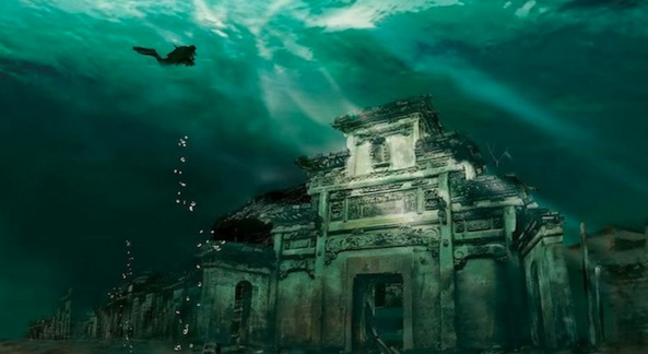 Underwater Lion City in Shicheng, China