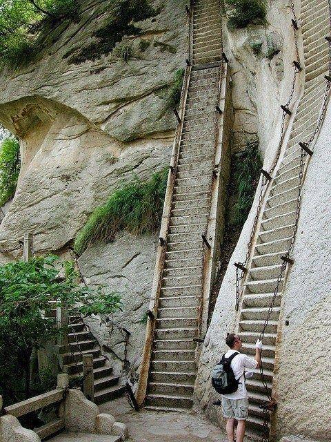 Almost 90 degree stairs, Mt. Huashan, China