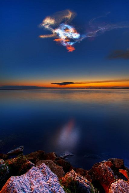 Colorful Noctilucent Clouds in the Sky, Titusville, Florida