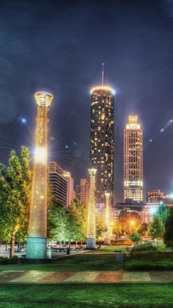 Downtown, Night, Atlanta, Georgia, United States