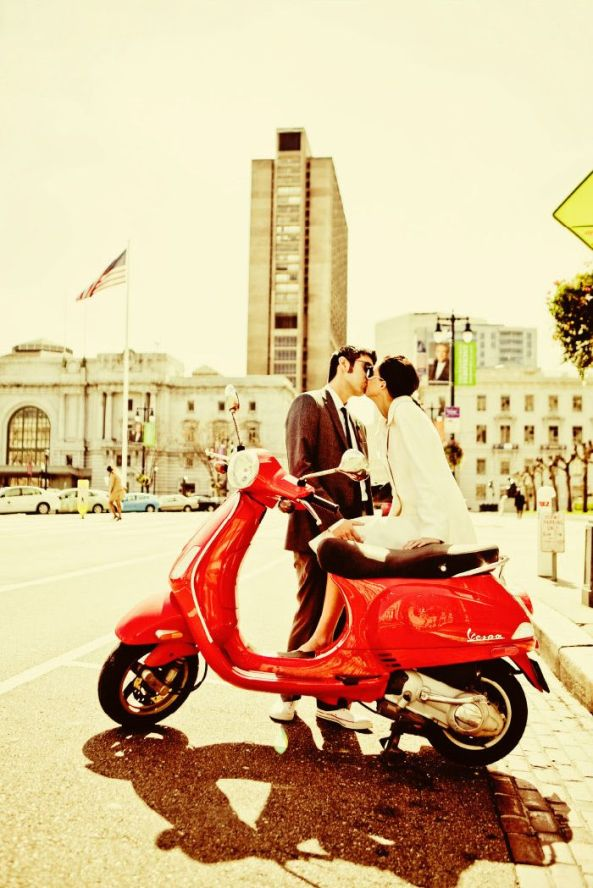 Kissing Couple and Vespa
