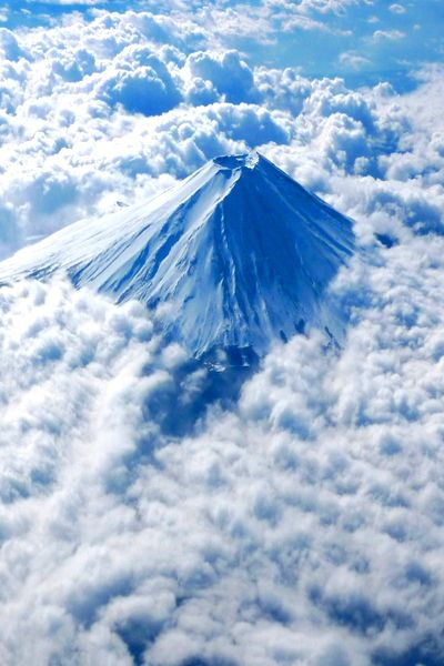 Mt. Fuji under clouds