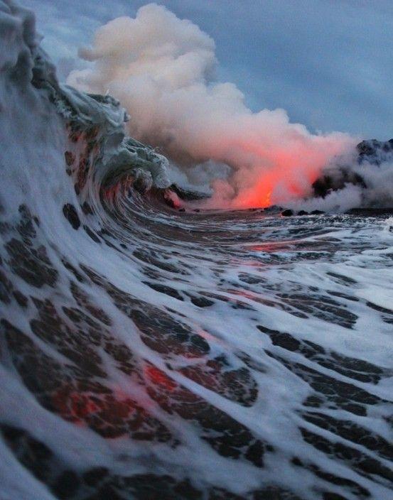Ocean meets lava