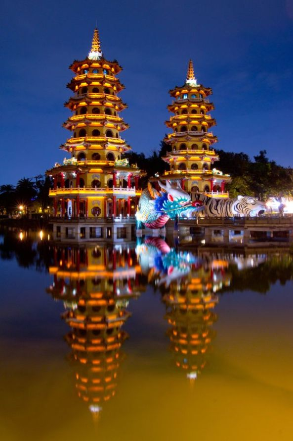 Dragon and Tiger Pagodas, Lotus Lake, China