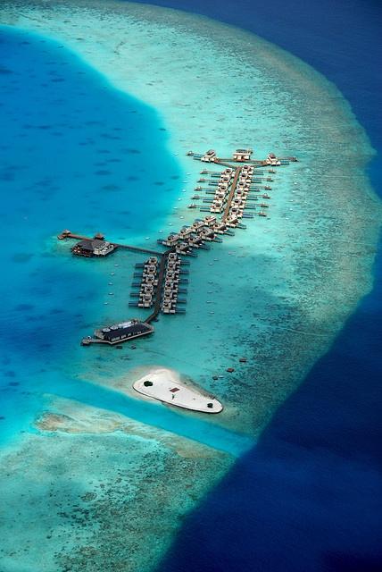 Maldives in ocean, Villas water bungalow
