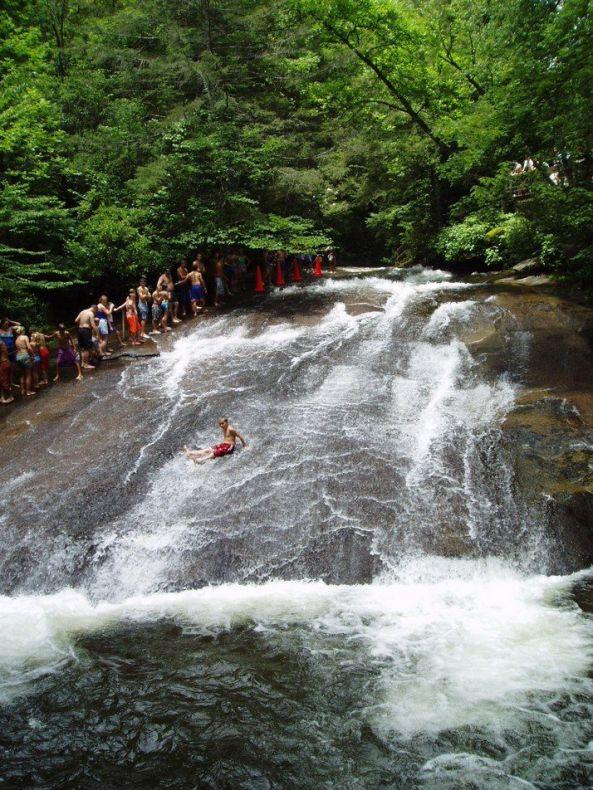 Sliding rock in Brevard, North Carolina